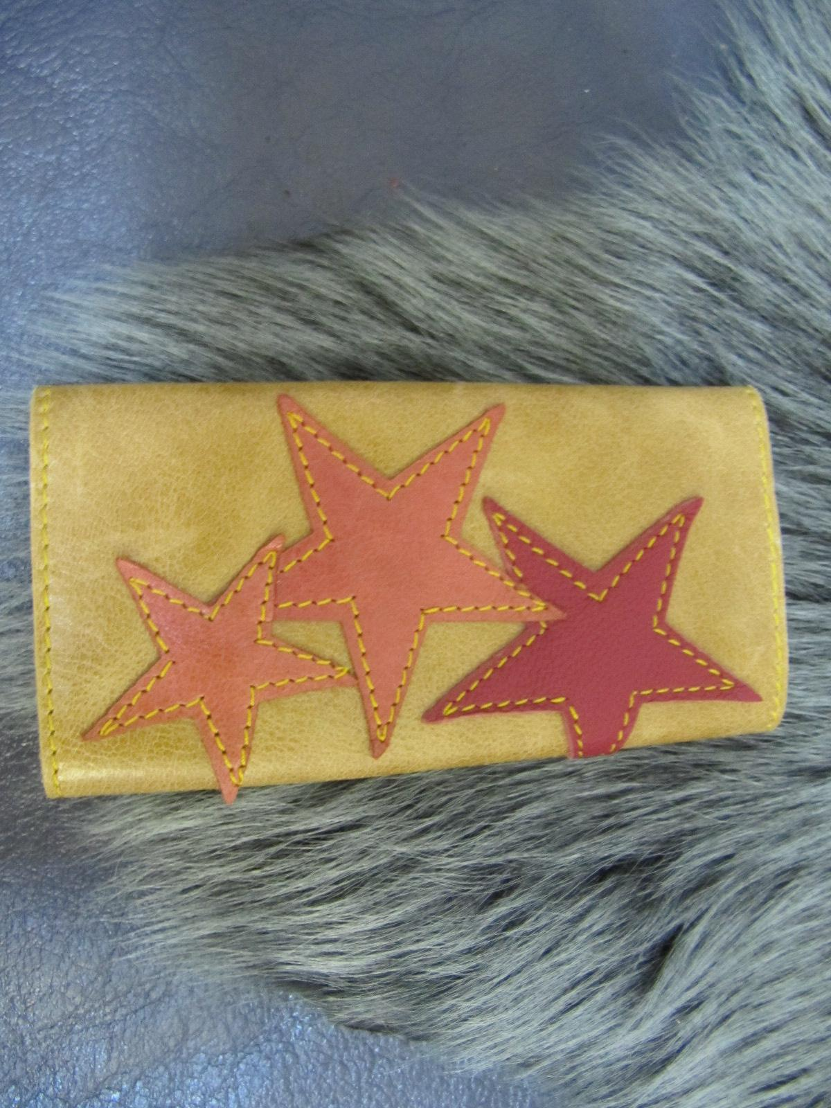 Leather key case tan leather & stars
