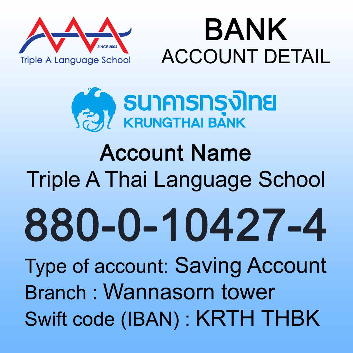 Payment - AAA Thai Language School