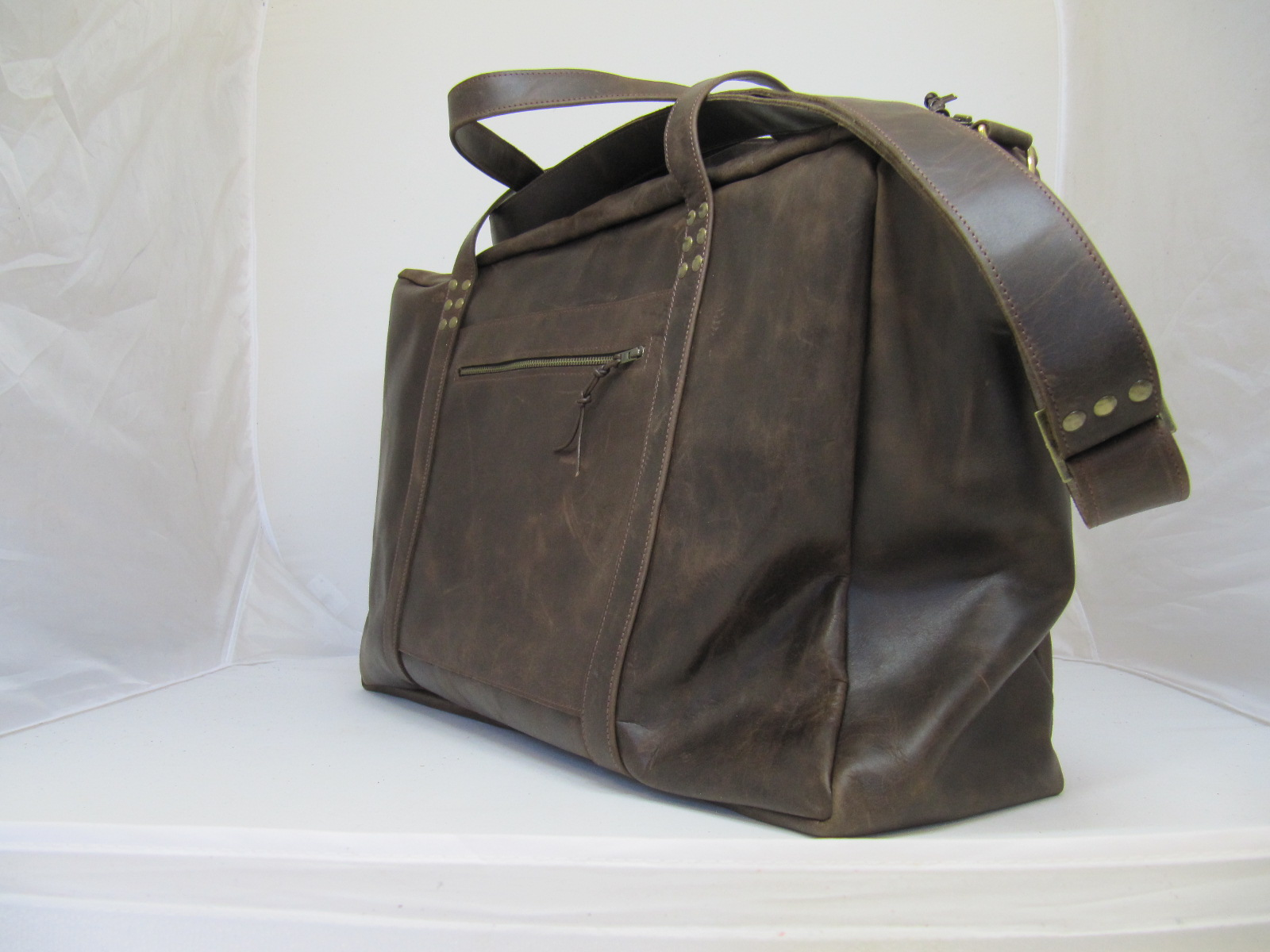 Flight Travel Bag in vintage leather