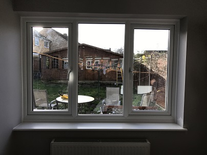 Inside View white PVCu standard casement window height increased new inner reveals and window board
