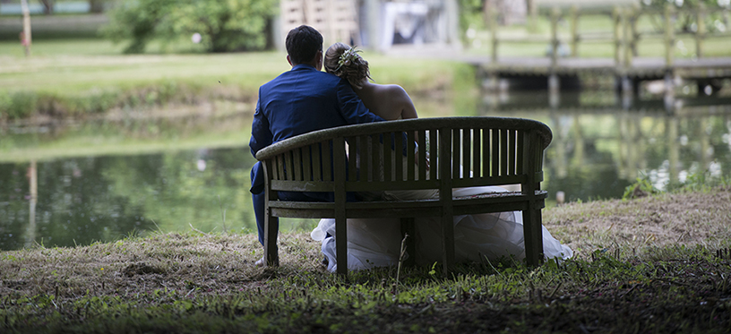 Bride & Groom on bench