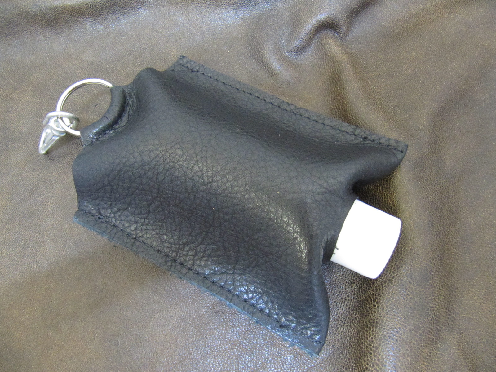 Leather Hand Sanitizer Carrier - Black