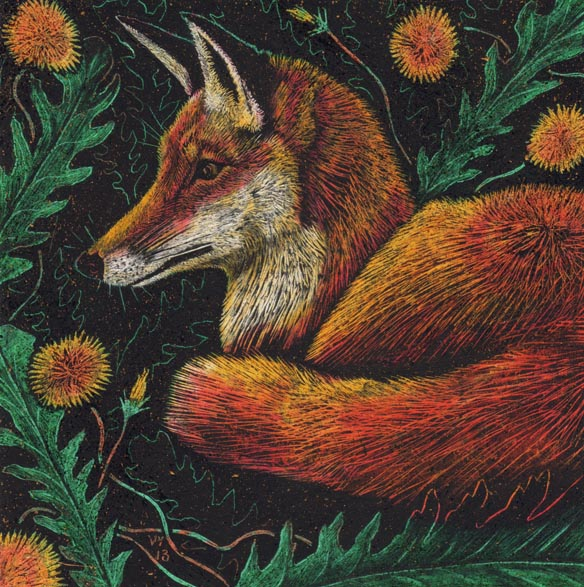 'Dandelion Fox' card