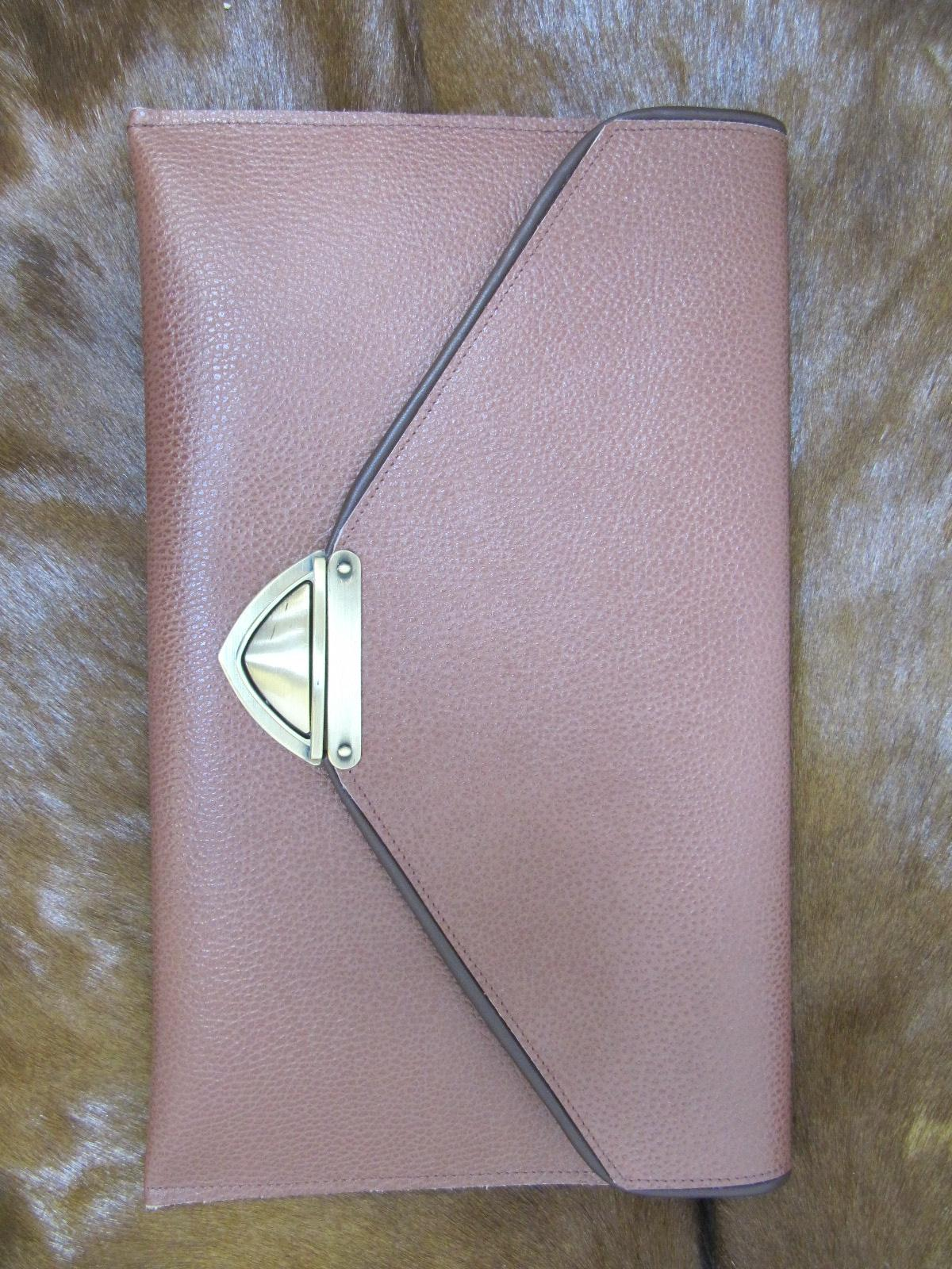Large leather clutch bag