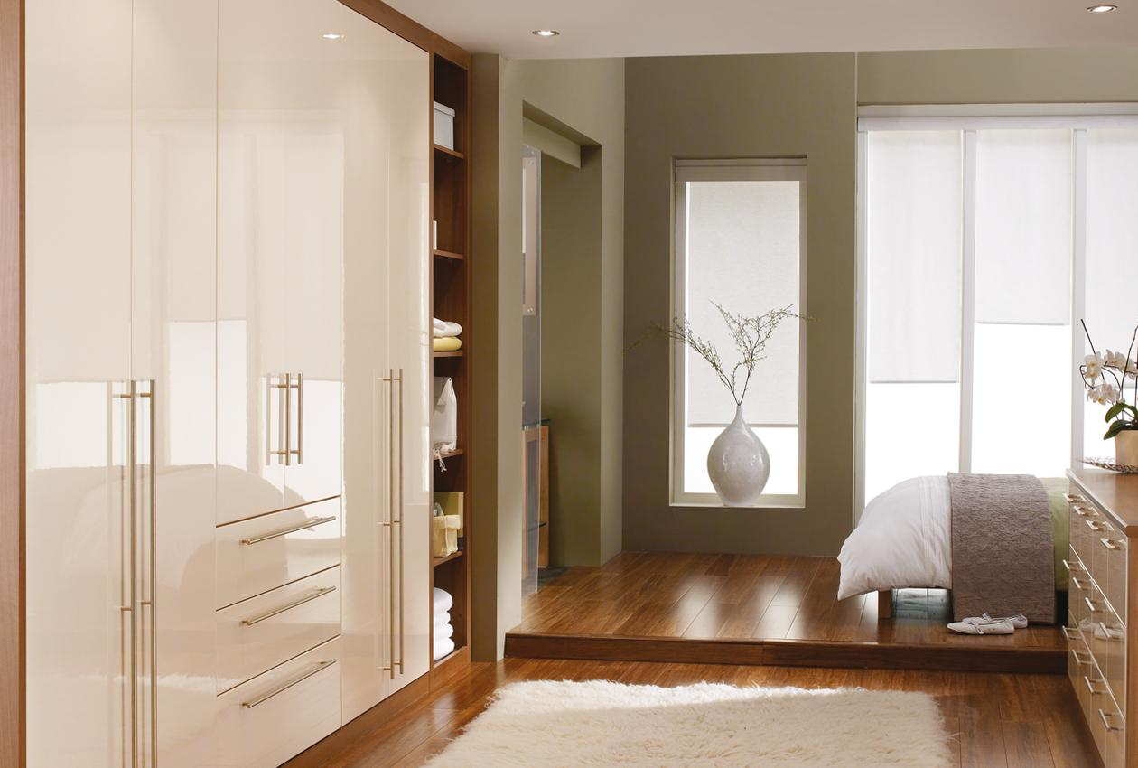 Phoenix Gloss Ivory Fitted Bedroom, Cedarwood Kitchens, Bedrooms & Home Interiors