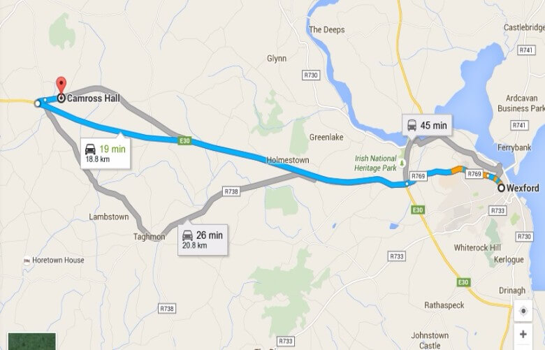 Directions from Wexford to Cedarwood Manufacturing, Camross
