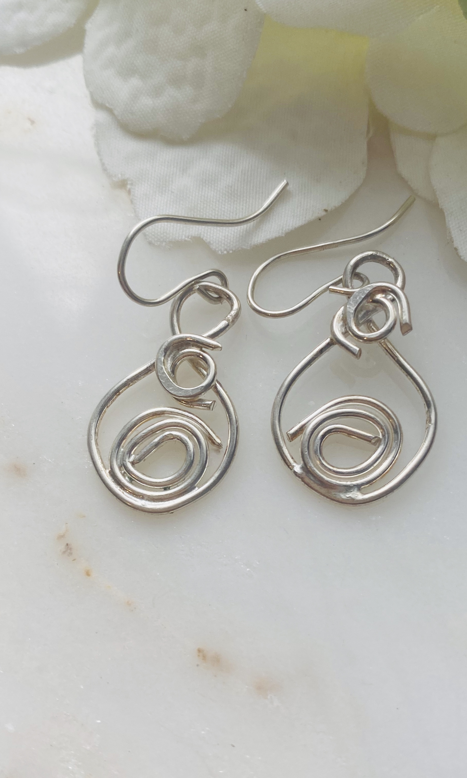 Sterling silver handmade 'swirl' earrings