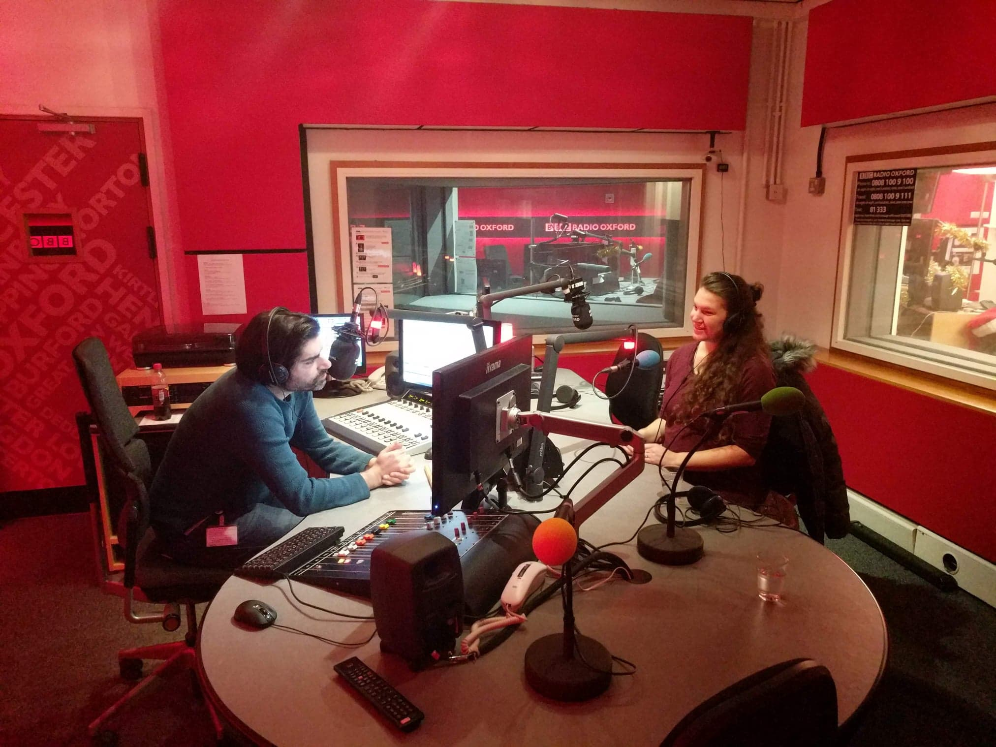 Rose Segal in the BBC Studio with Dave Gilyeat