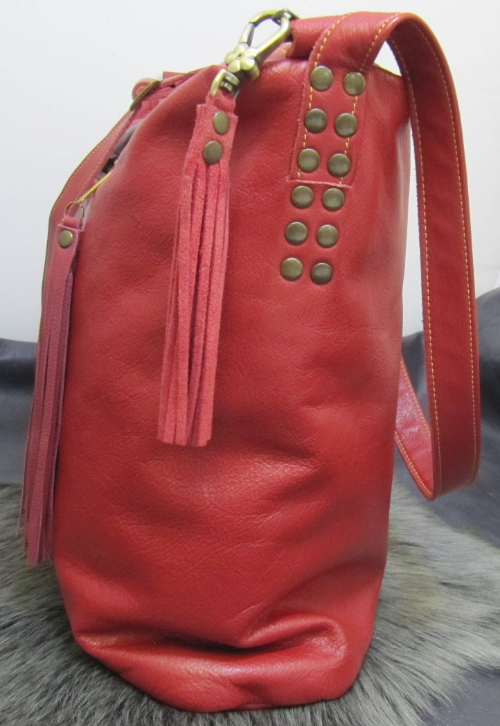 Large red leather handbag
