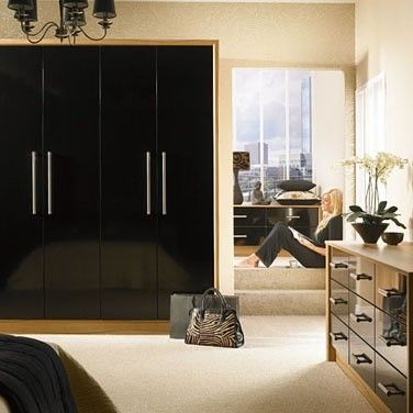 Phoenix Gloss Black Fitted Bedroom, Cedarwood Kitchens, Bedrooms & Home Interiors