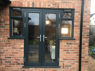 Anthracite Grey PVCu French doors with side lights