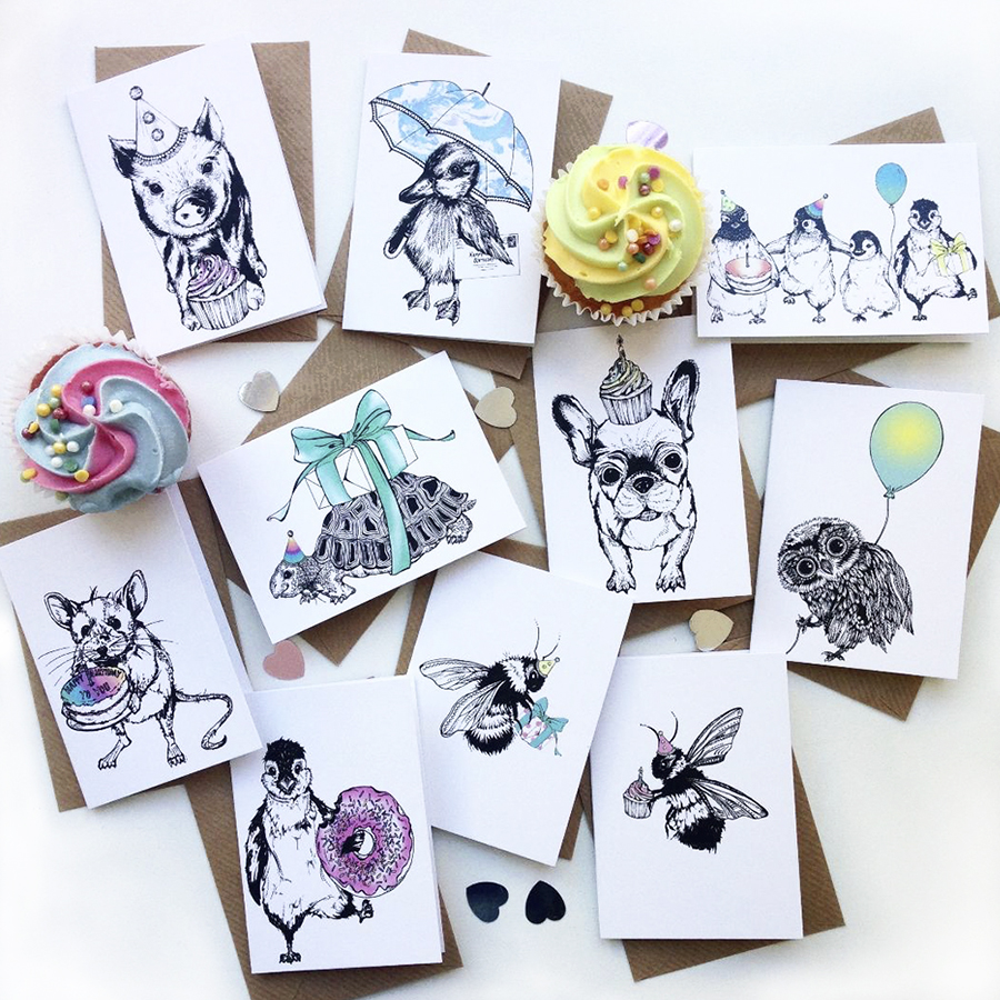 Party Pack Of 10 Different Celebration Cards Blank Inside Animal