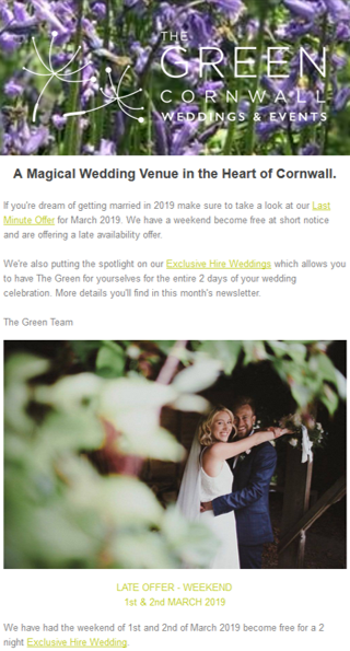 The Green Cornwall Email Marketing