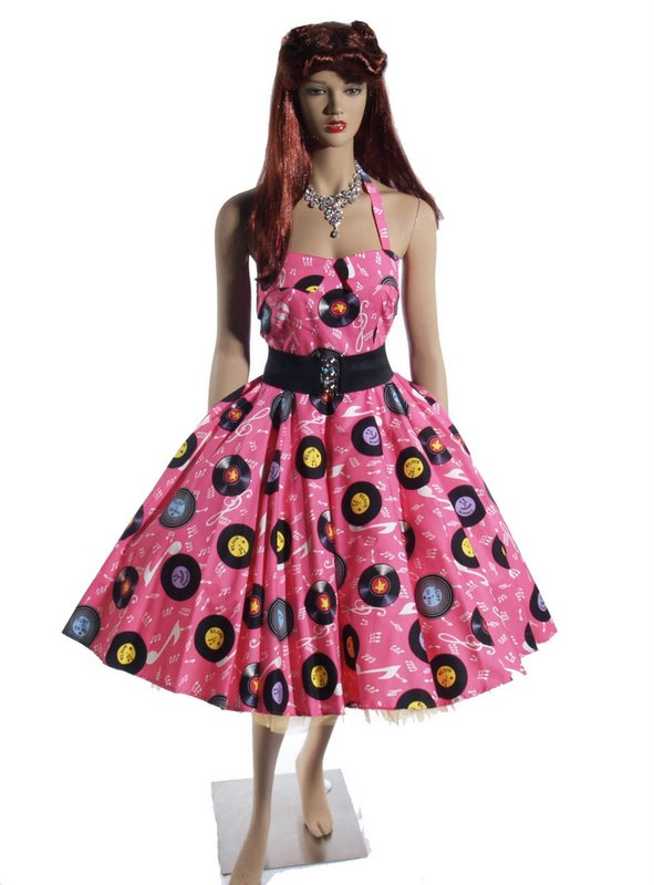 Pink Records Halter Neck Dress