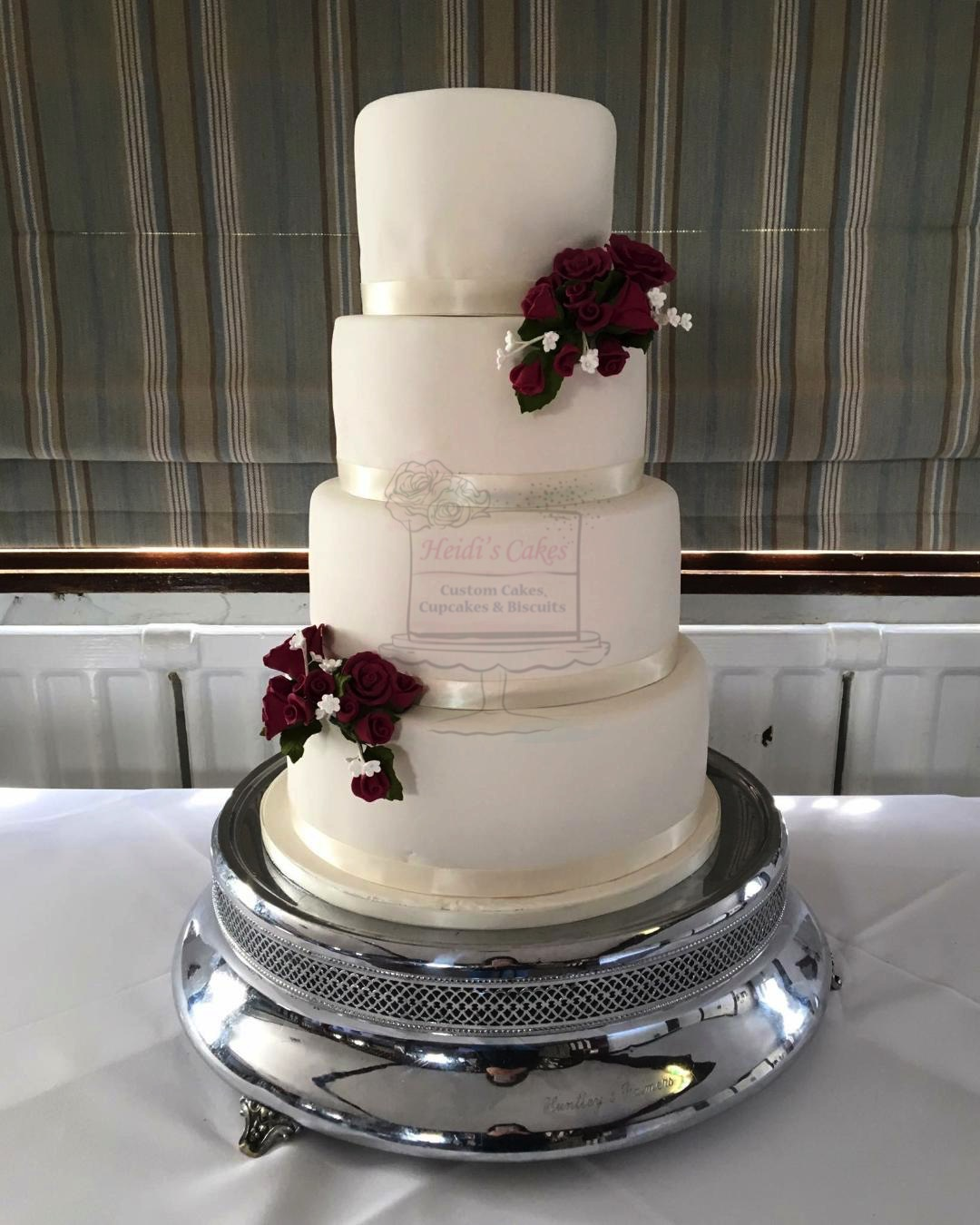 Ivory with Burgandy Flowers 4 Tier