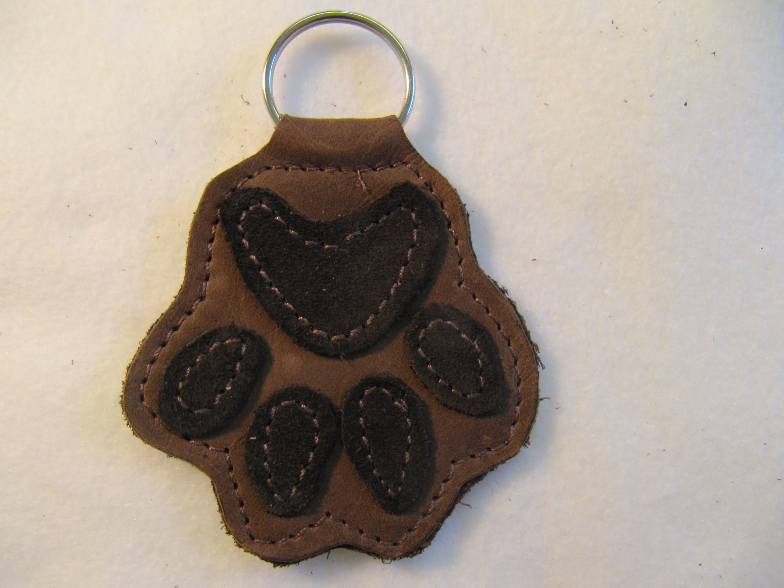 Paw leather key fob