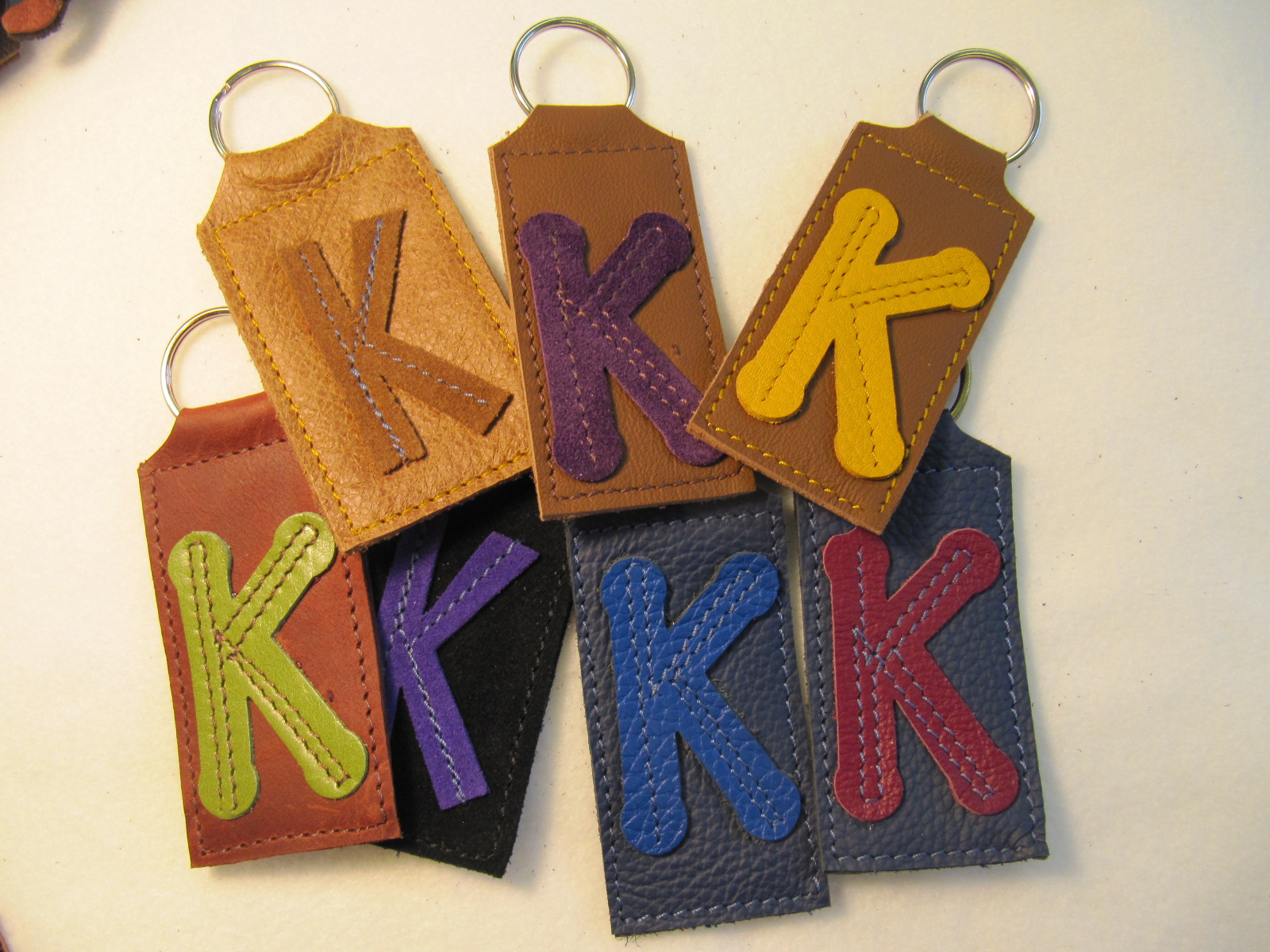 Initial leather key fobs 'K'