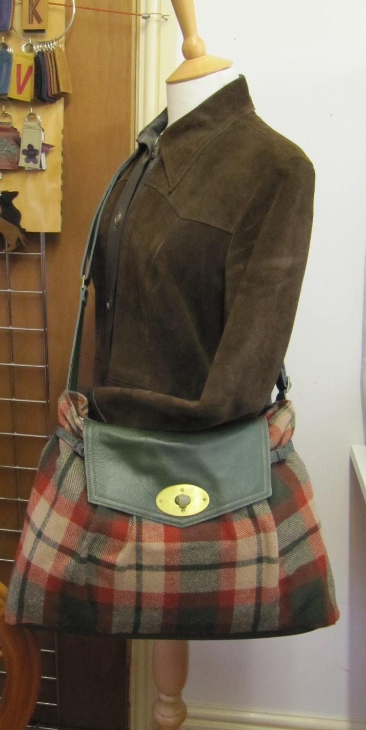 Tweed and Green Leather handbag