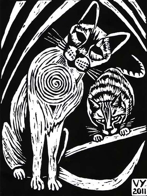 'Esme and Humphrey' lino print