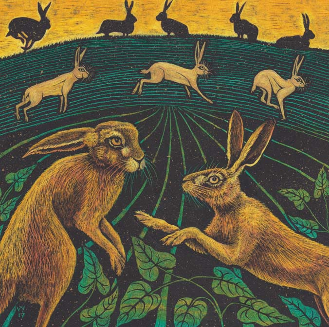 'A Trip of Hares' A4 print