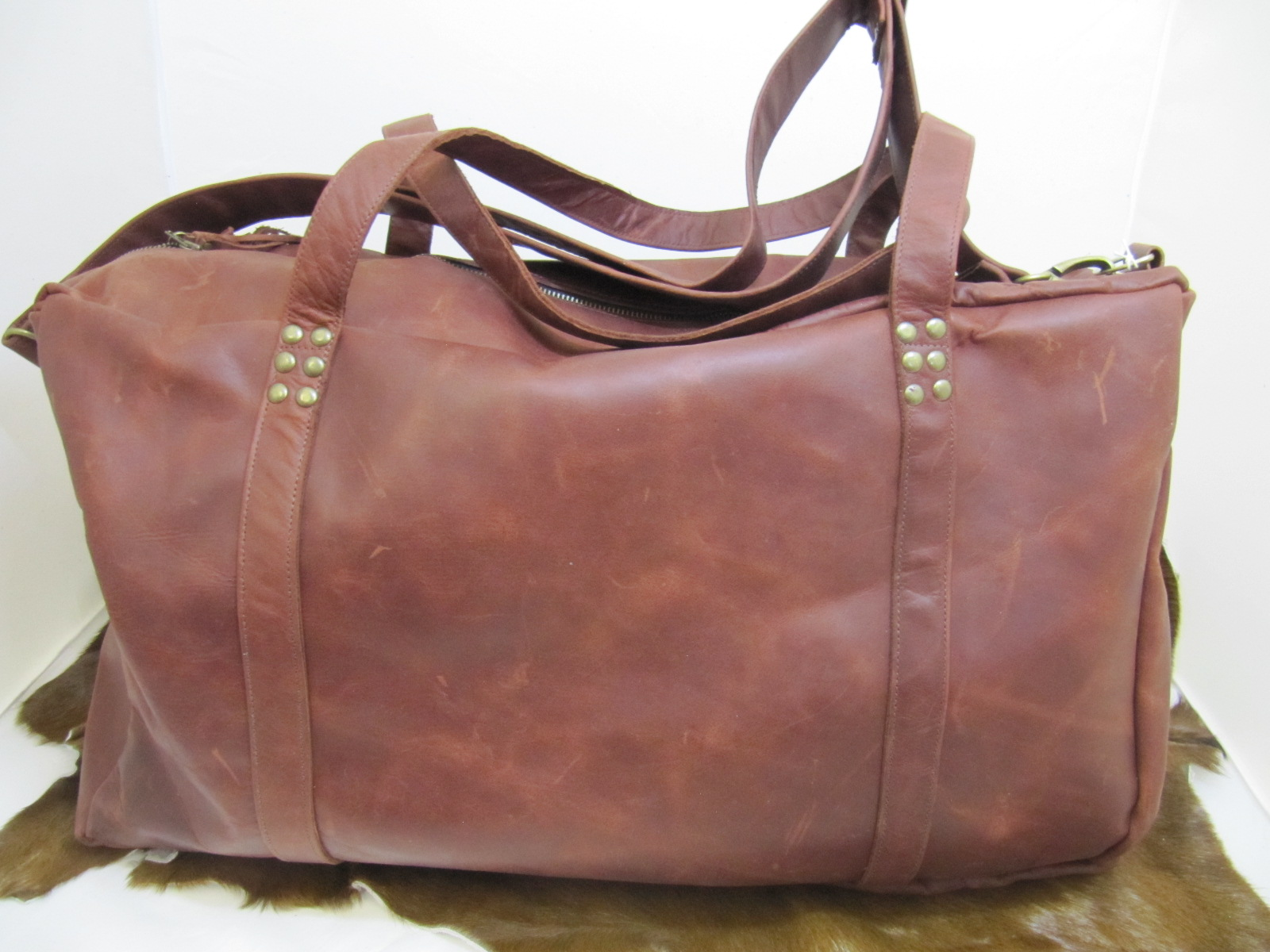 Flight Travel bag in Rust Vintage Leather