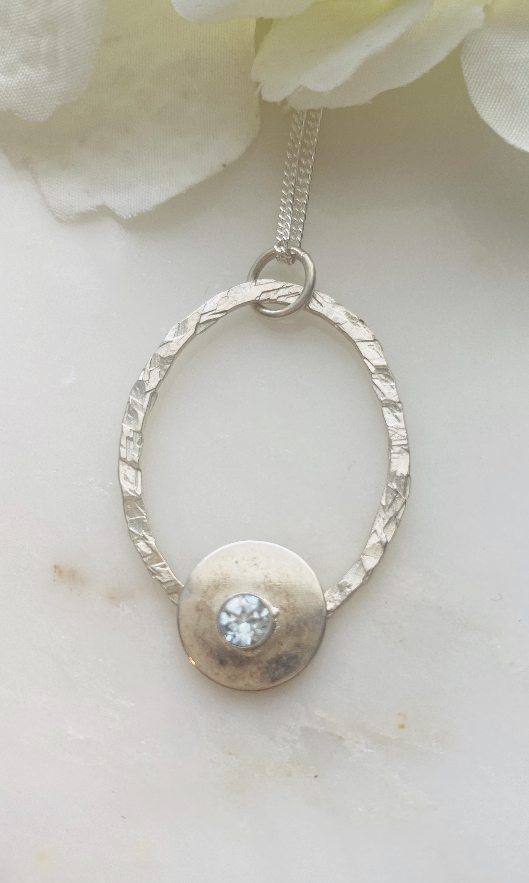 Topaz oval hammered pendant