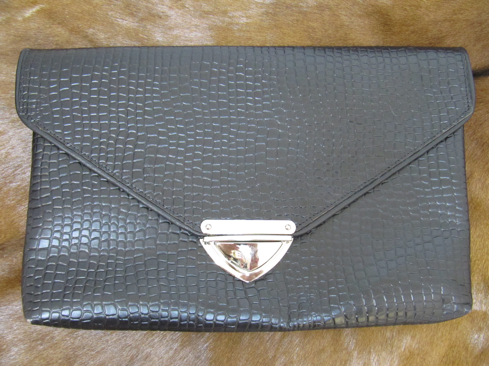 Black leather (mock croc) clutch bag