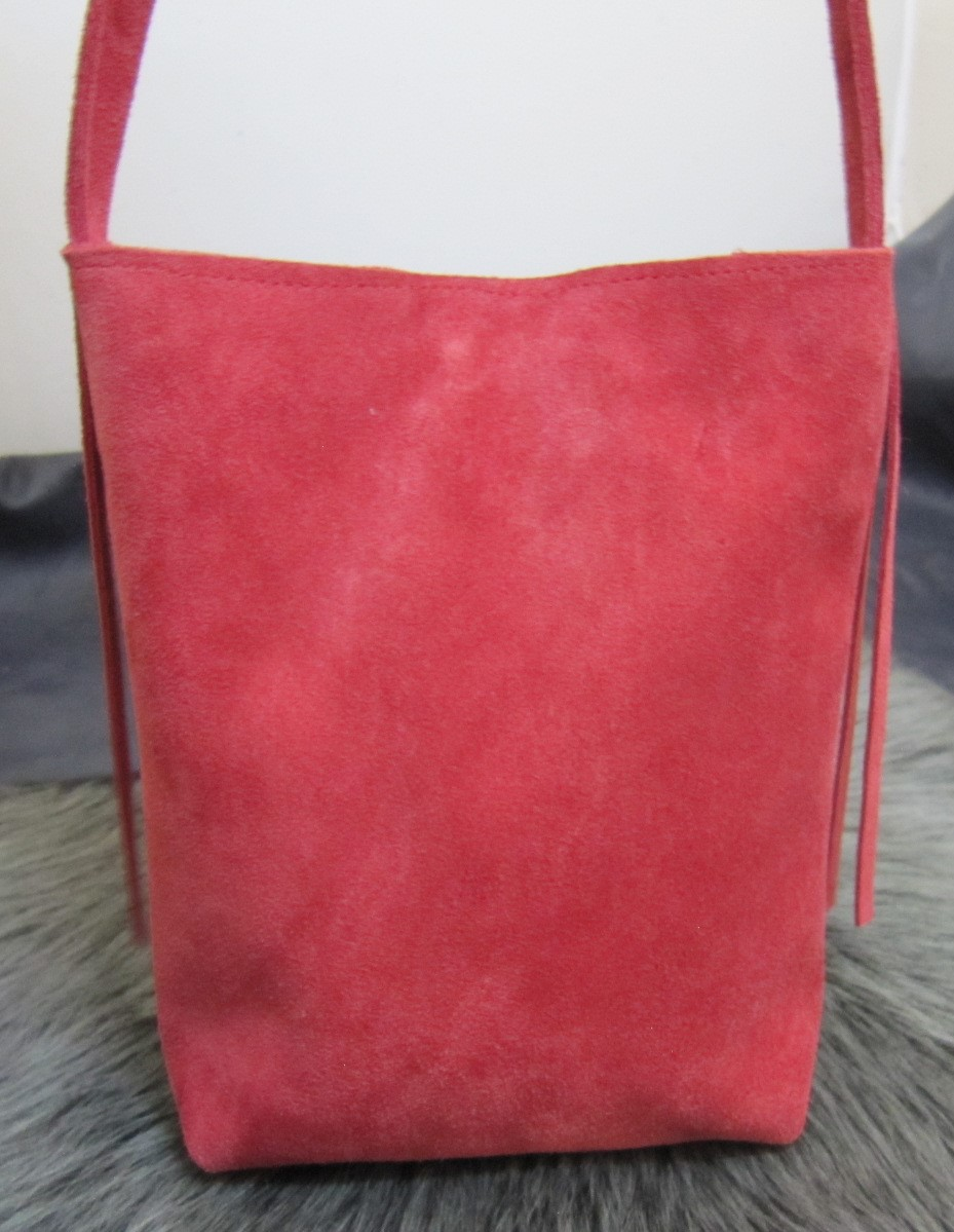 Small fringed red suede bag
