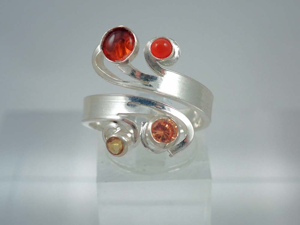 Amber, carnelian, citrine curl ring