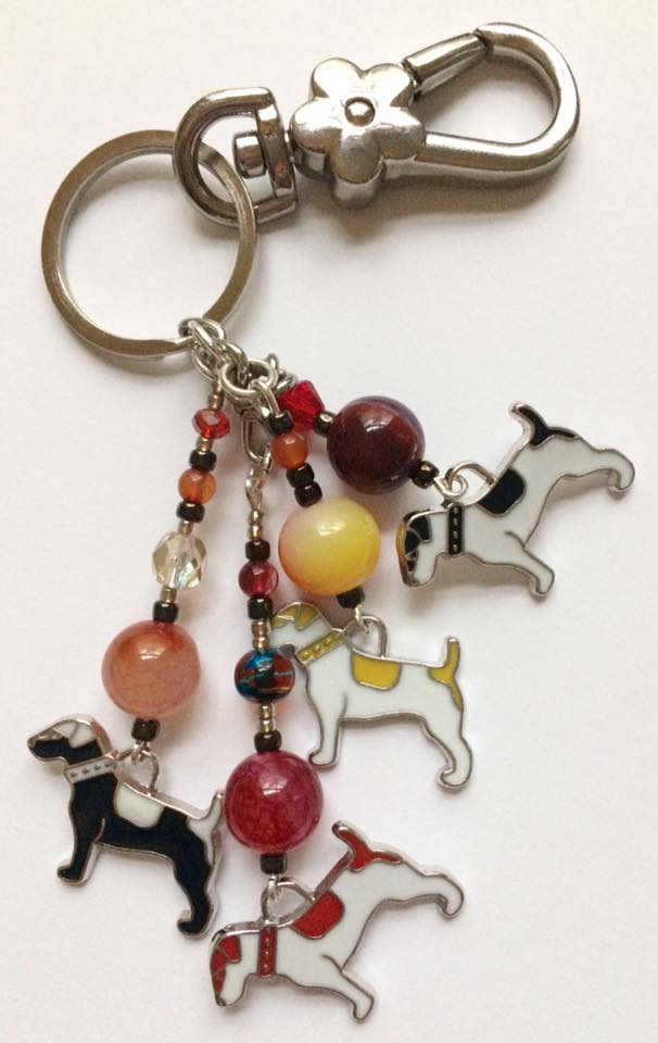 Jack Russell bag charm with red beads