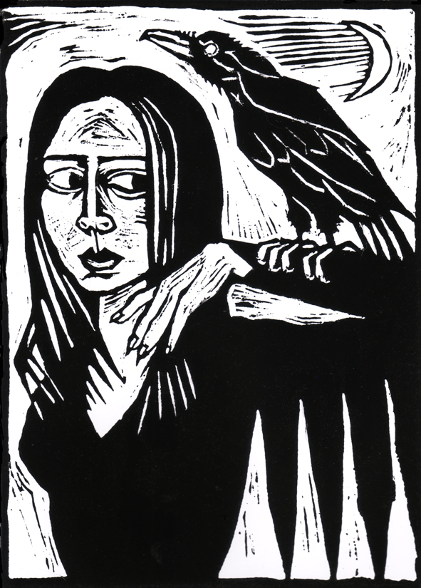 'Lana and the Crow' lino print