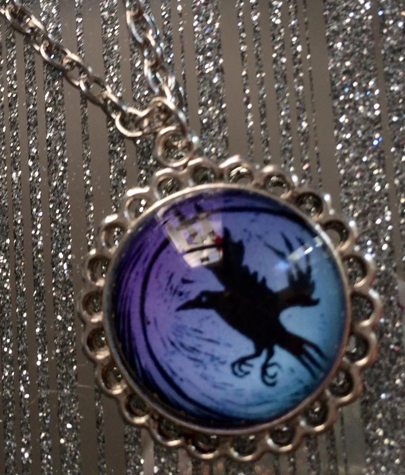 'Crow and Moon' purple tint necklace