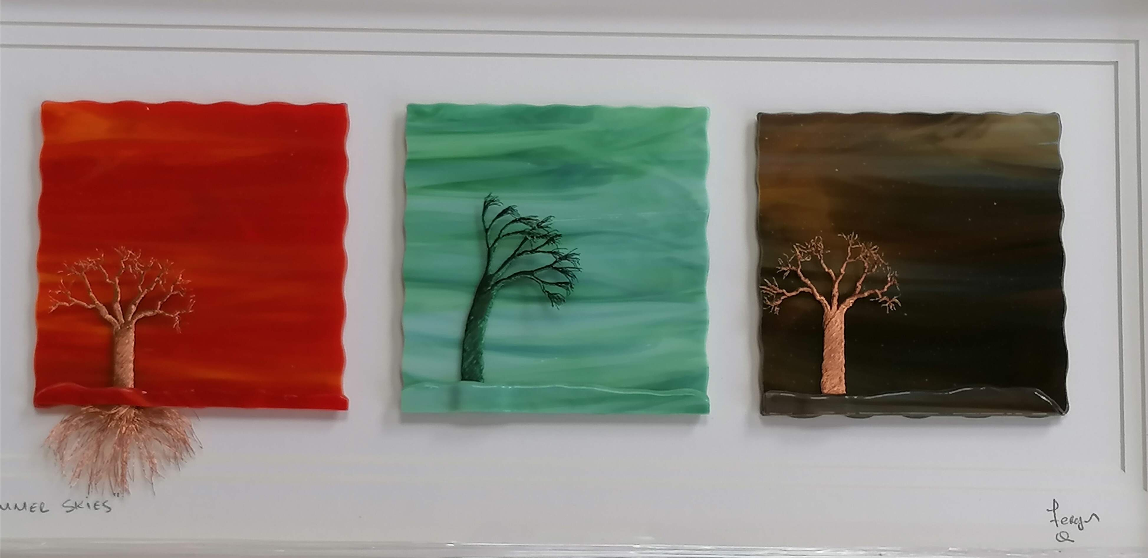 3 Glass Art Pictures, with handmade Copper wire Tree, finished in a White wooden frame.