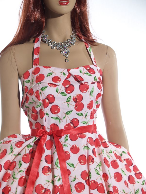 Pink Cherries Halter Neck Dress