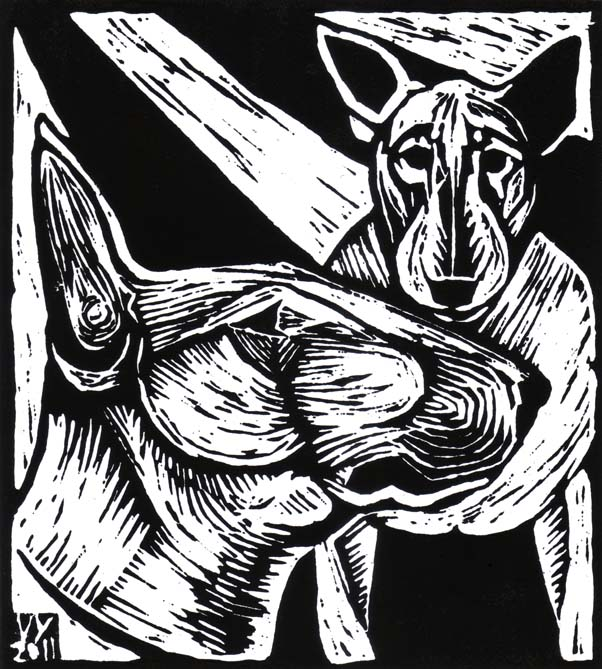 'Bull Terriers' lino cut