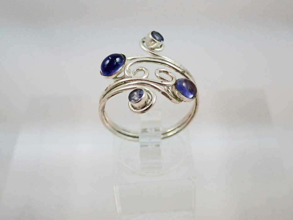 Iolite ring with curls