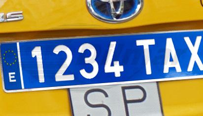 Placa matrícula azul taxi