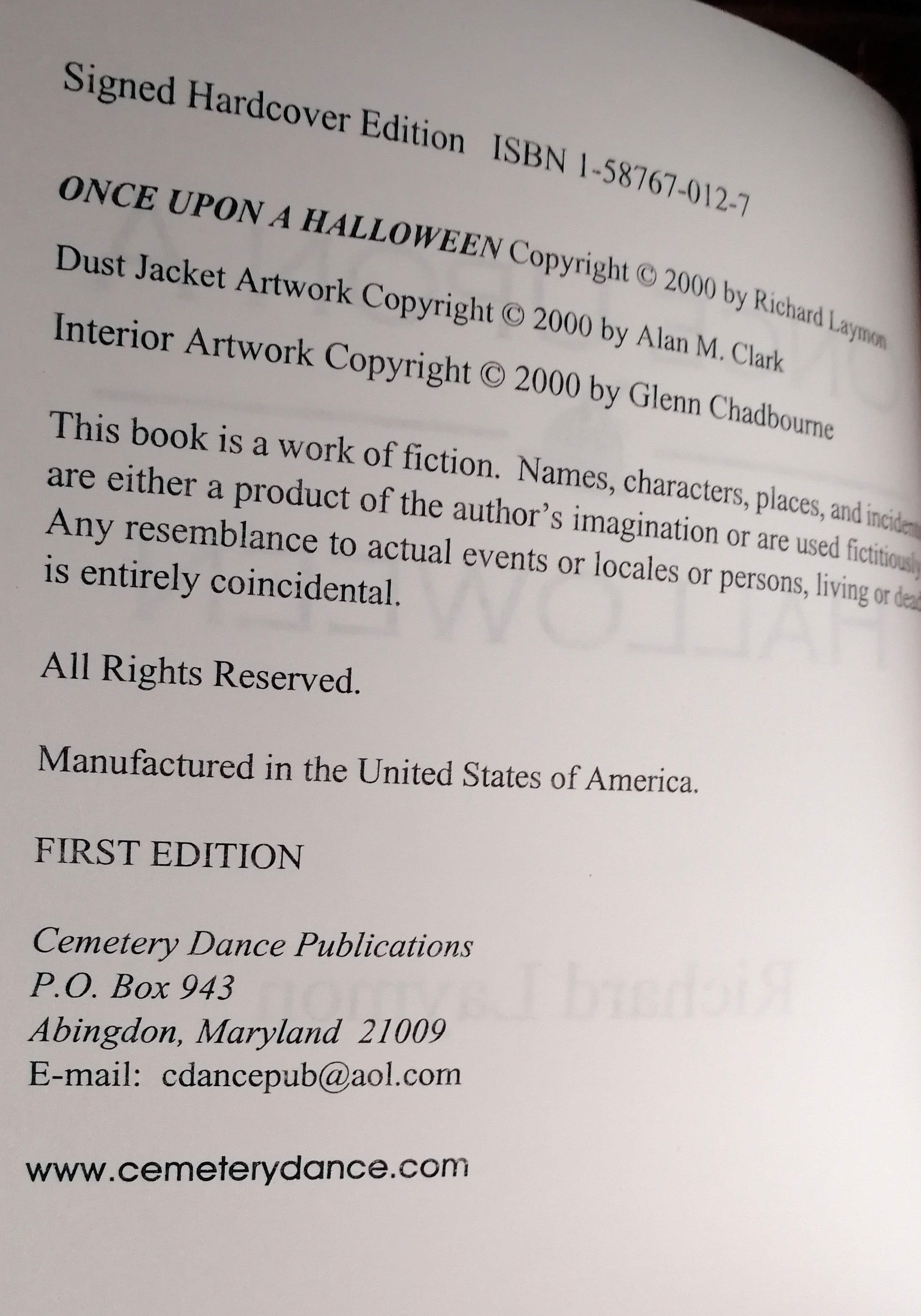 Once Upon A Halloween US Proof