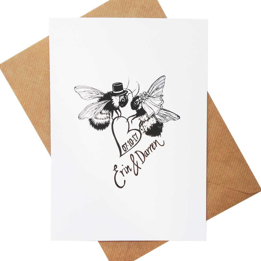 Bee Happily Married Wedding Greeting Card