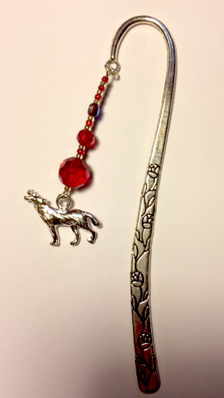 Wolf bookmark with red beads