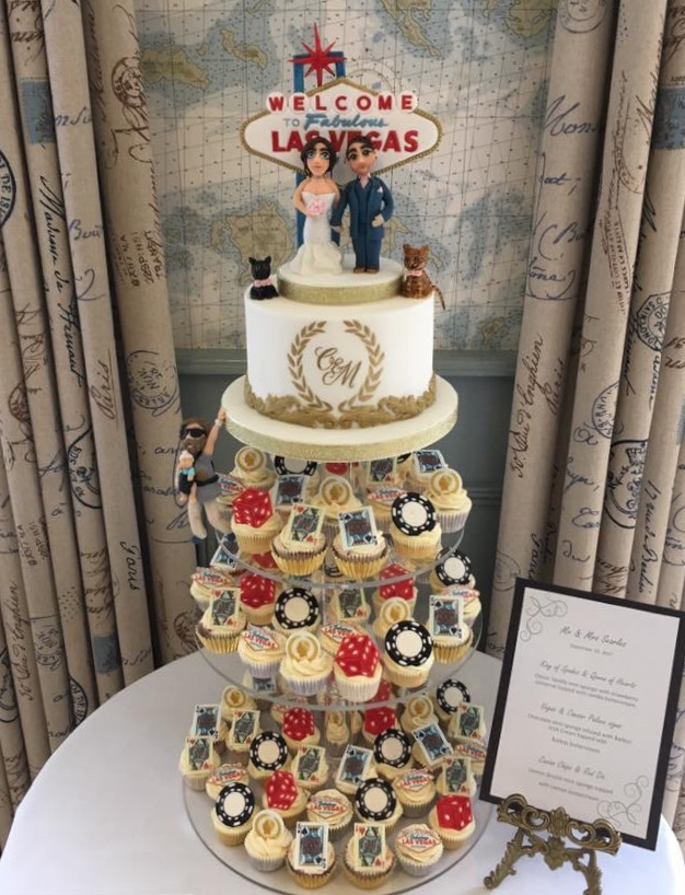 Las Vegas themed Cutting cake and Cupcake tower - Treat me Sweet