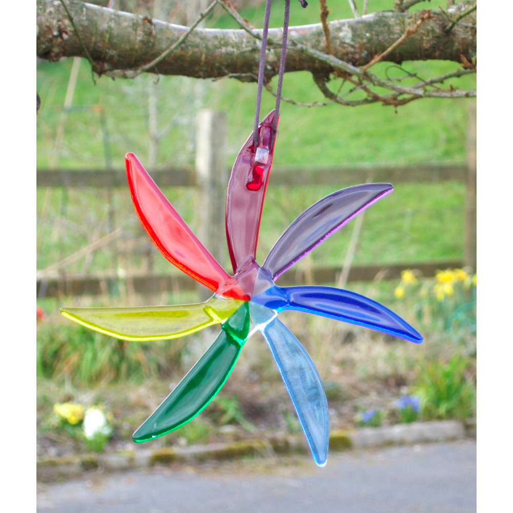Rainbow / Chakra sun-star fused-glass suncatcher