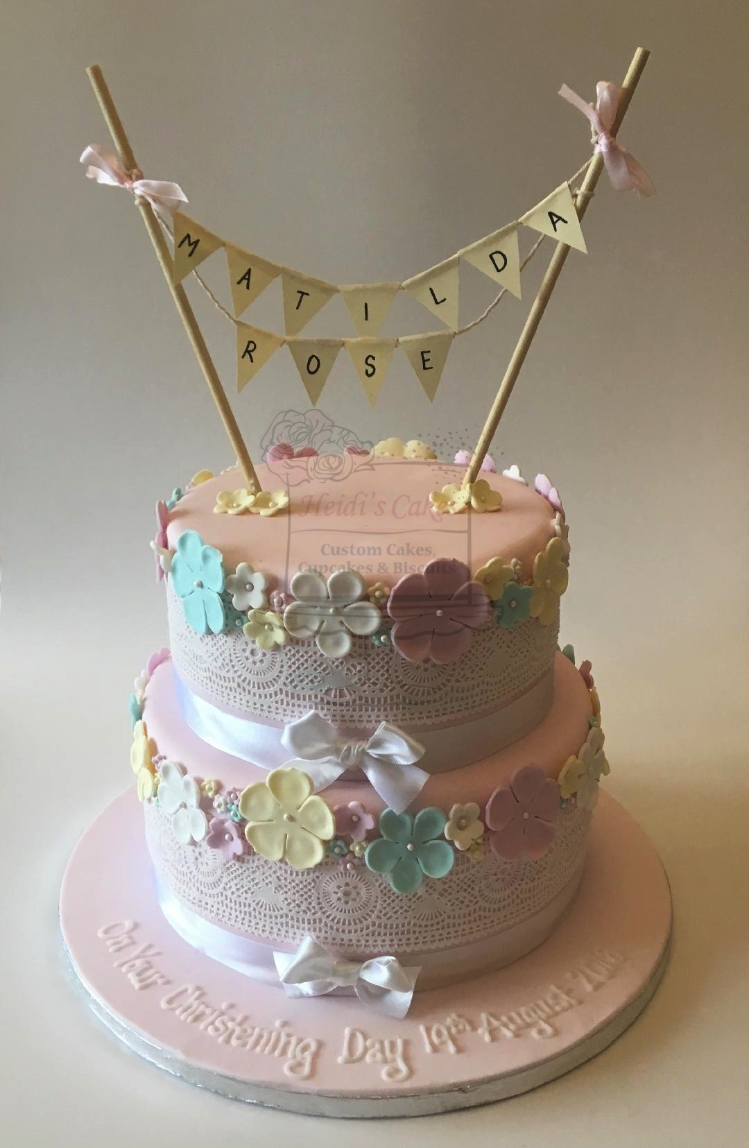 Flowers, Lace & Bunting 2 Tier