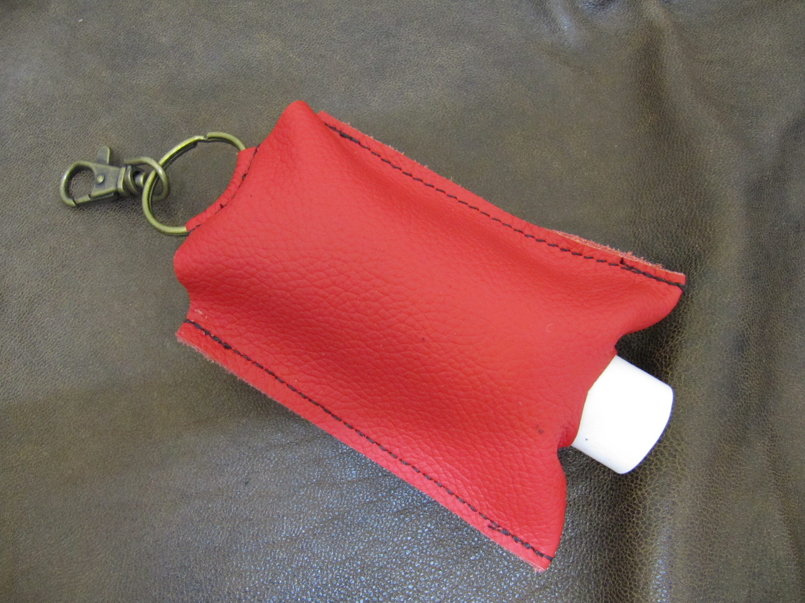 Leather Hand Sanitizer Carrier - Red