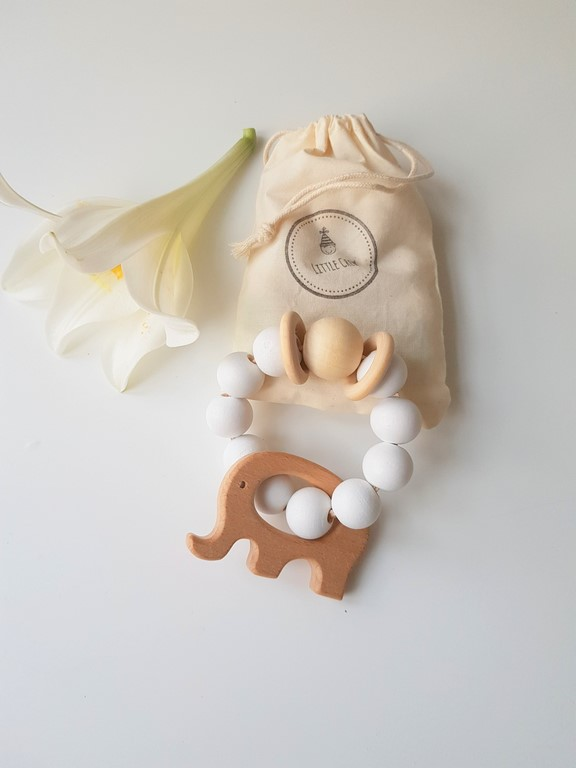 Wooden Teether Rattle - White & Raw Wood