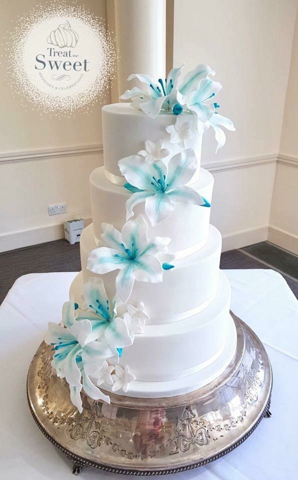 4 Tier Wedding cake with handmade edible Lilies - Treat me Sweet