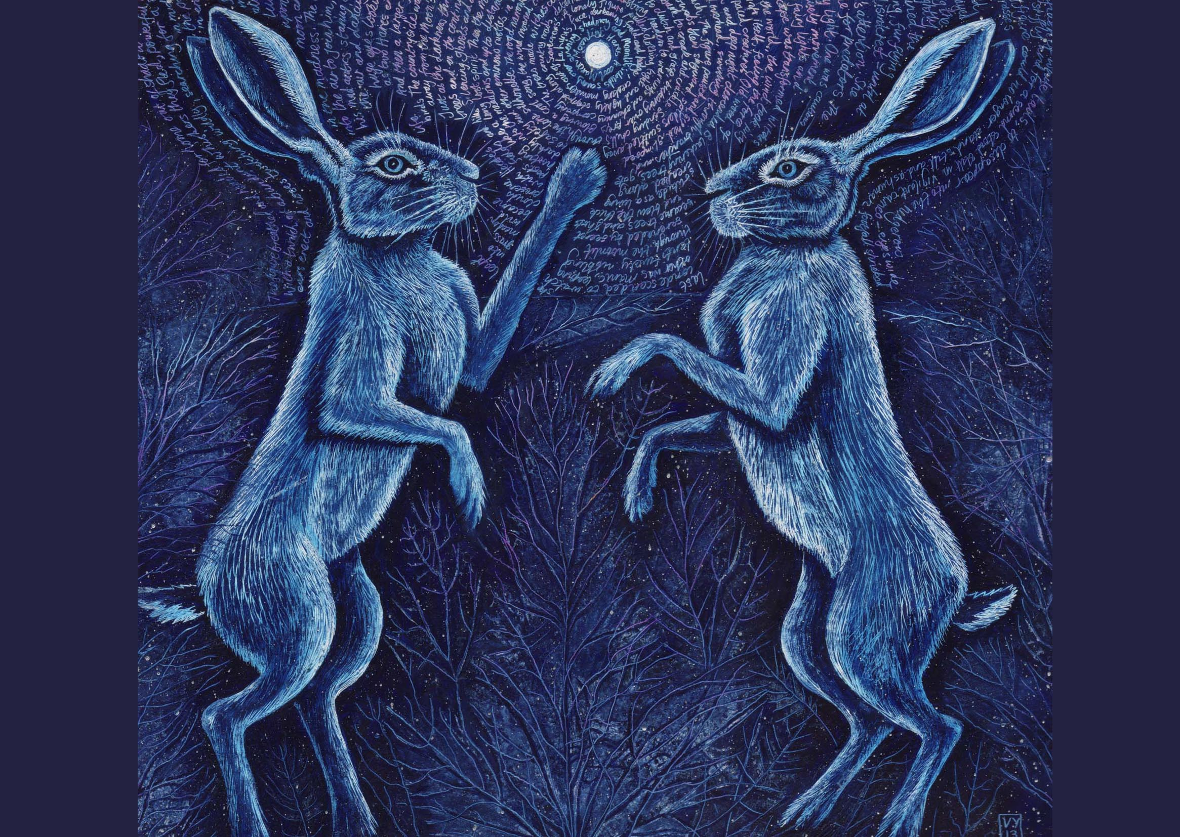'Moonlight Hares' card