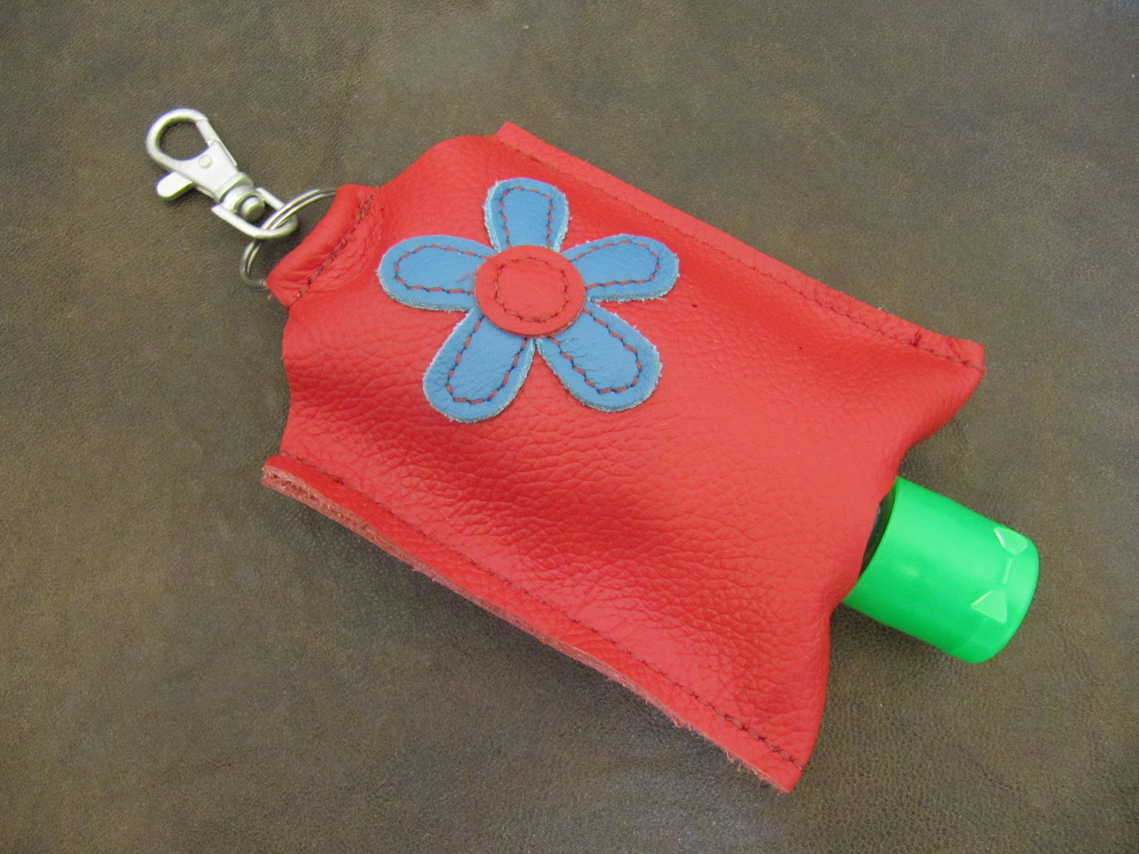 Leather Hand Sanitizer Carrier - Red with Blue Flower