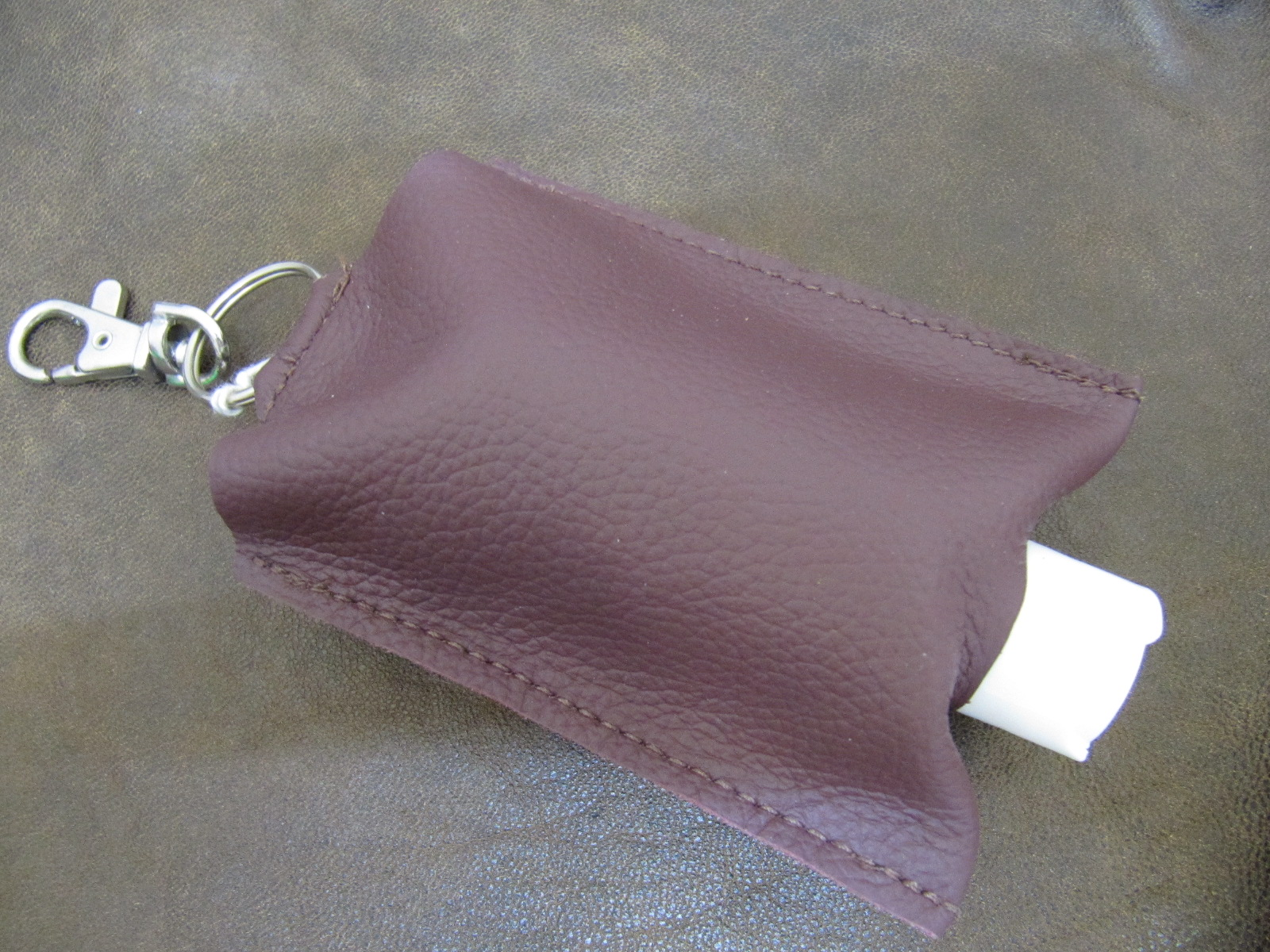 Leather Hand Sanitizer Carrier - Purple