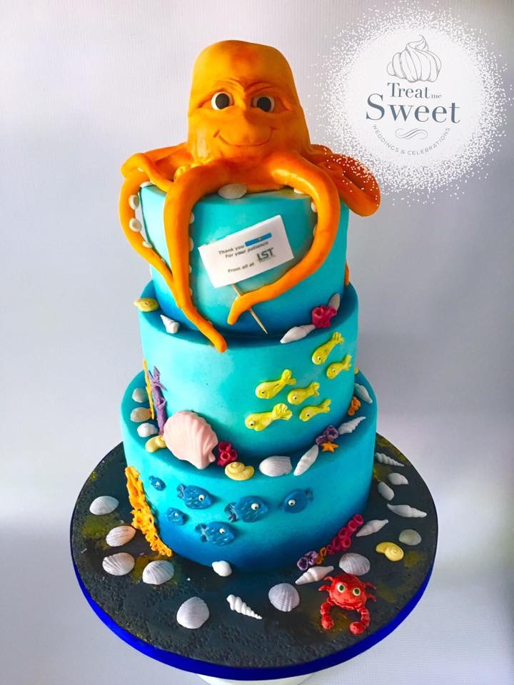 Under the Sea tiered cake with large Octopus - Treat me Sweet